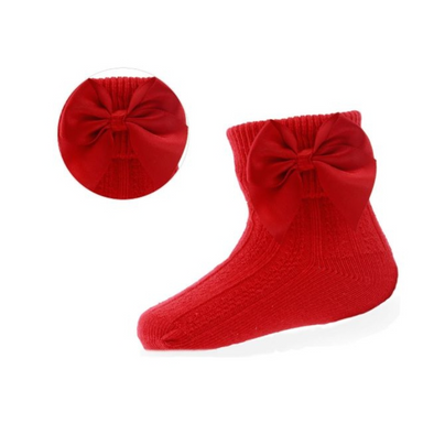 Red Bow Ribbed Socks