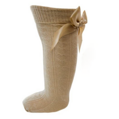Camel Knee Bow Ribbed Socks