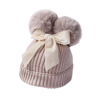 Kenna Cream Bow Pom Hat