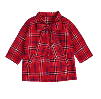 Larianna Red Checked Bow Coat