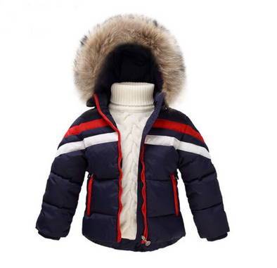 Navy Blue Bo Padded Faux Fur Hooded Parker