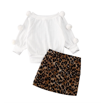 Streten White Bobble Jumper Skirt Set