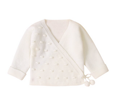 April White Bobble Cardigan