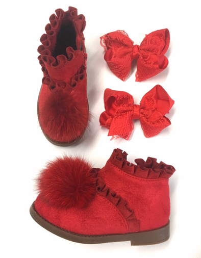 Red Pom Front Boots