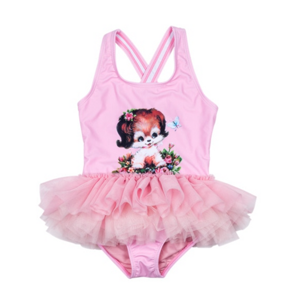 Savanna Puppy Pink Frill Swimsuit