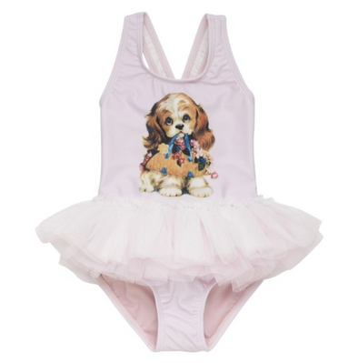 Brooklyn Puppy Dog Pink Frill Swimsuit