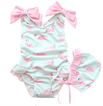 Paisley Pink Bow Frill Flamingo Swimsuit Set