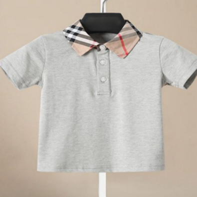 Wyatt Grey Collared Checked T-Shirt