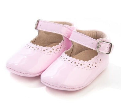 Baby Pink Soft Leather Mary Jane's