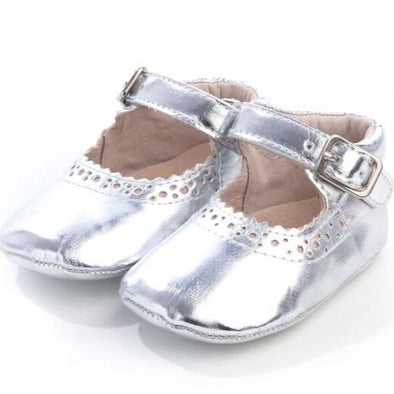 Silver Soft Leather Sole Baby Leather Shoes