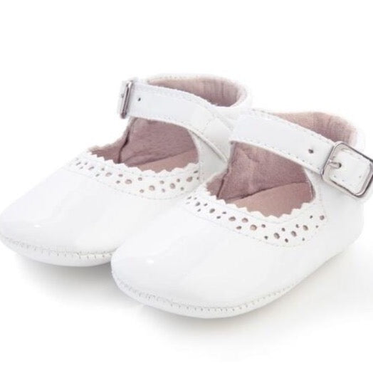White Soft Leather Mary Janes