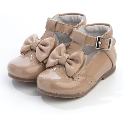 Girls Camel Patent Leather Bow Shoes