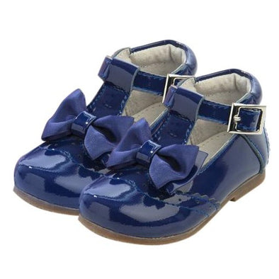 Girls Navy Patent Leather Bow Shoes