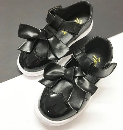 Black Patent Bow Front Trainers