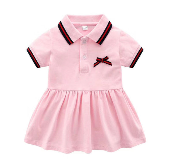 June Pink Bow Front Collared Dress