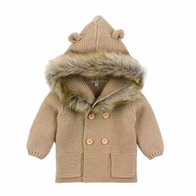 Malci Coffee Knitted Faux Fur Hooded Jacket