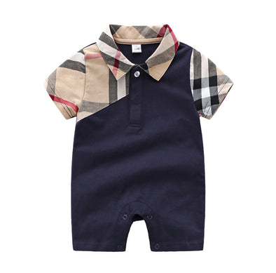 Luis Navy Checked Arm Bodysuit