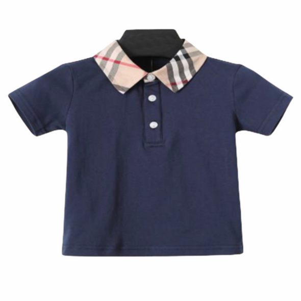 Wyatt Navy Collared Checked T-Shirt