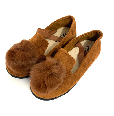 Brown Leather Pom Shoes