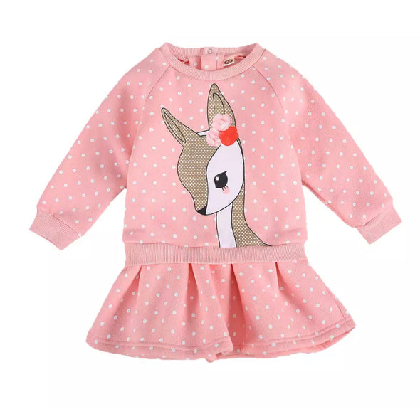 Camille Deer Pink Jumper Dress