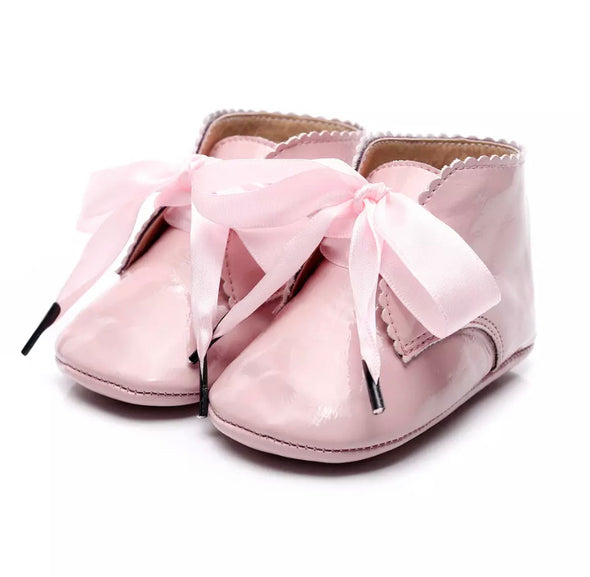 Toby Baby Pink Ribbon Booties