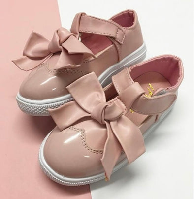 Pink Patent Bow Front Trainers