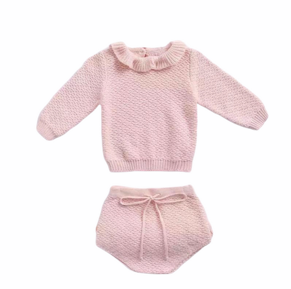 April Pink Knitted Ruffle Two Piece