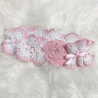 Pink Ribbon Flower Bow Head Band