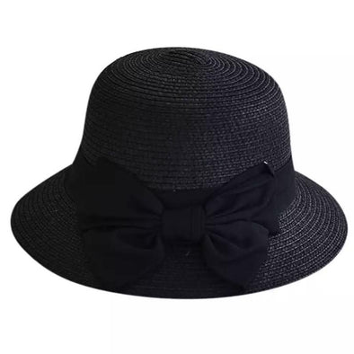 Girls Black Bow Straw Hat