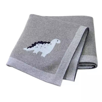 Dark Grey Dino Cotton Blanket