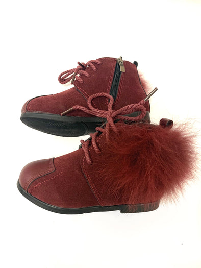Burgundy Pom Side Leather Boots