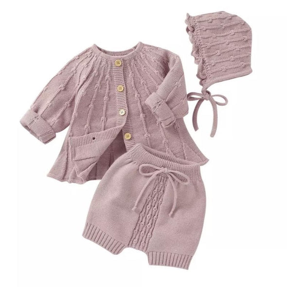 Bristol Pink Three Piece Knitted Set