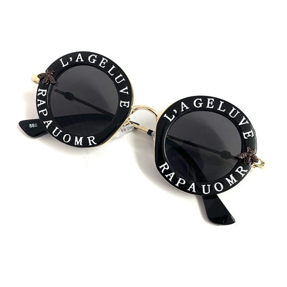 Round Text Frame Sunglasses