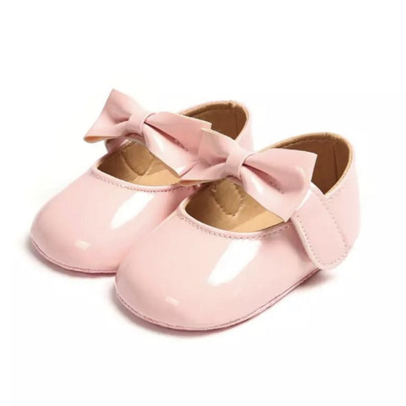 Baby Pink Patent Bow Front Shoes