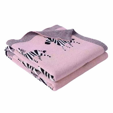 Pink Cotton Zebra Blanket