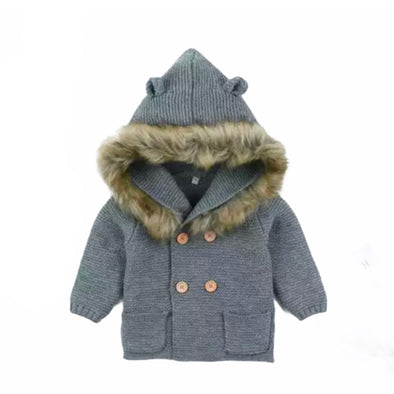 Malci Grey Knitted Faux Fur Hooded Jacket