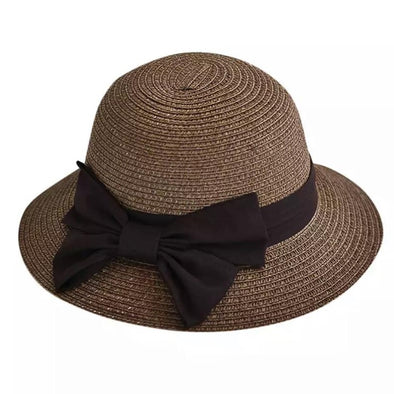 Girls Brown Bow Straw Hat