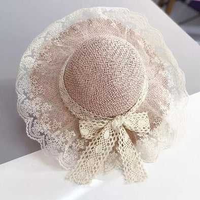 Pink Lace Trim Bow Straw Summer Hat