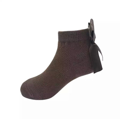 Brown Bow Back Ankle Socks
