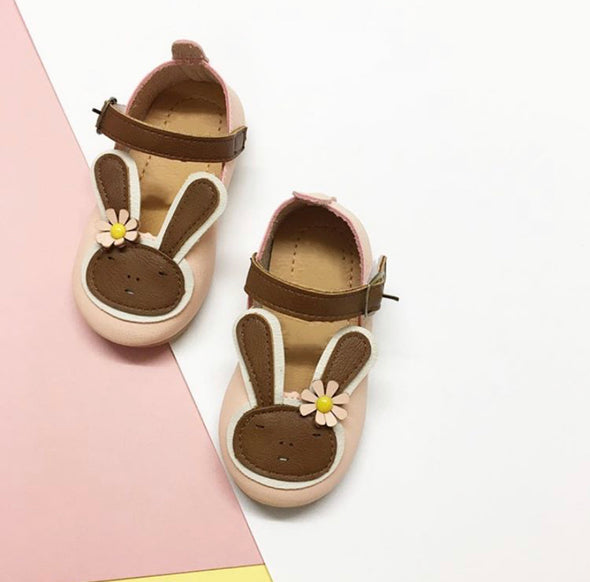 Girls Soft Leather Rabbit Front Shoes