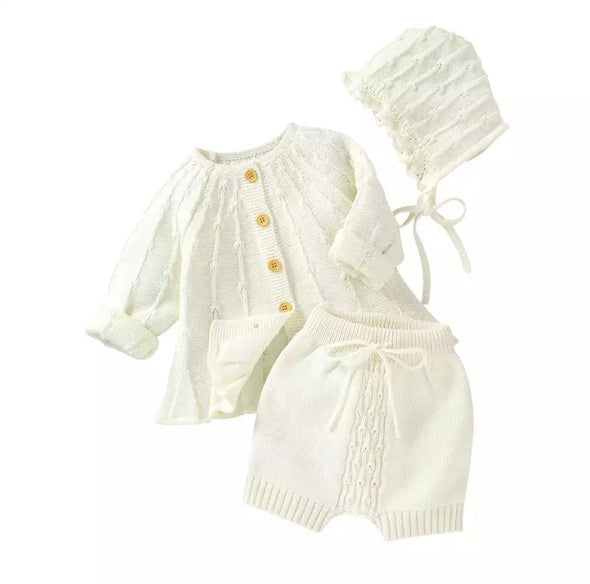 Bristol Off White Three Piece Knitted Set
