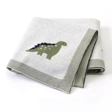 Green Dino Cotton Blanket