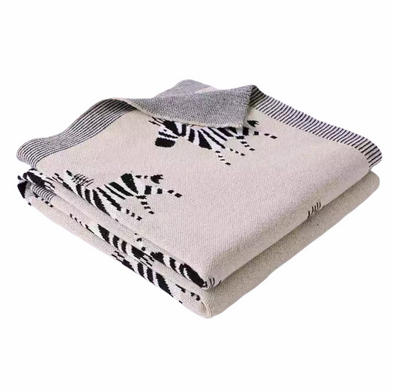 Biscuit Cotton Zebra Blanket