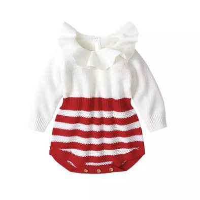 Kyla Red Striped Knitted Ruffle Neck Romper