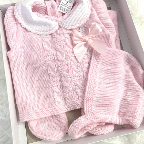 Baby Pink Woven Three Piece Set