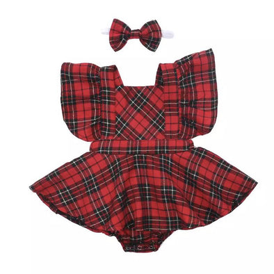 Monday Red Checked Bow Dress