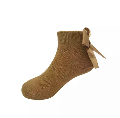 Mustard Bow Back Ankle Socks