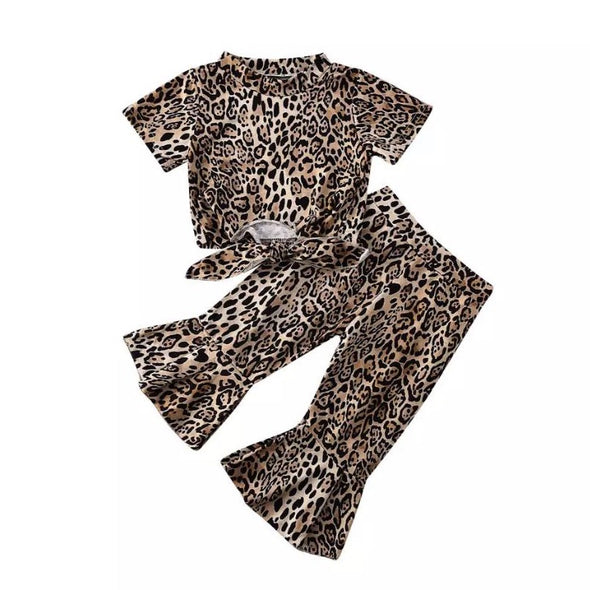 Croft Leopard Print Flares Trouser Set