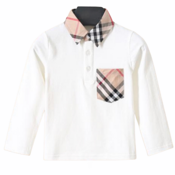Beau White Checked Collar Top