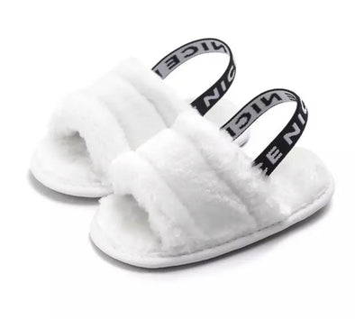 White Baby Fluffy Slip On Sandals